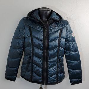 Guess puffy full zipper hoodie winter jacket